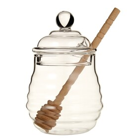 Honey Pot with Wood Dipper, 13cm